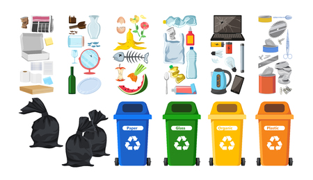 Rubbish bins for recycling different types of waste. Garbage containers for trash sorted by plastic, organic, e-waste, metal, glass, paper. Environmental conservation vector infographics