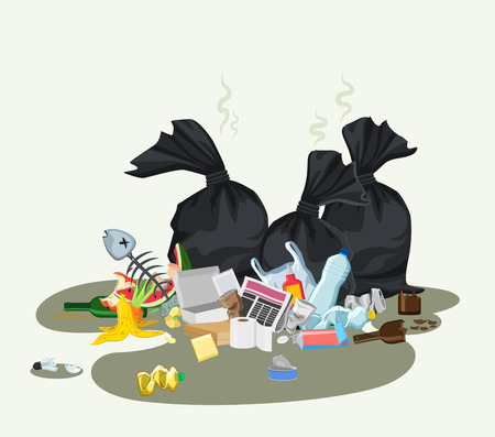Garbage dump with rubbish bin for recycling. Different types of waste. Trash laying on the street. Environmental conservation vector infographics element
