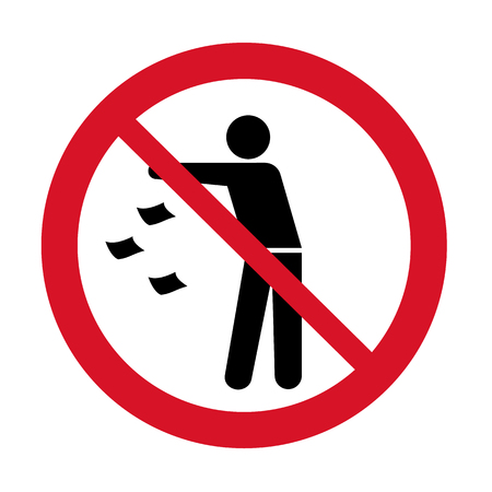 Do not litter icon. Keep it clean prohibition sign. Throwing garbage forbidden icon. Vector illustration Foto de archivo - 126324714