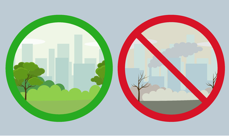 Environmental conservation icons. Landscape with nature ecology elements and ecology problem concept. Vector illustration Stock Illustratie