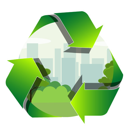 Recycling label with the park zone and town inside. Reduce pollution sign. Vector illustration Foto de archivo - 126238000