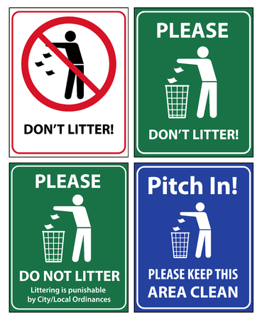 Set of posters and sticker signs with a call please do not litter, keep area clean. Vector illustration for environmental conservation. Stock Illustratie