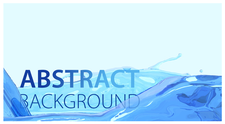 Realistic water stream. Clean and transperent wave water surface background for product advertisement. Blue liquid flow and splash. Vector illustration element
