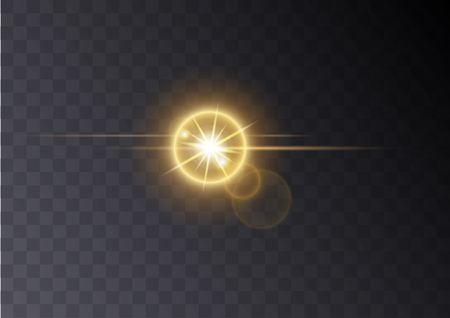 Realistic Lens flare light effect on transperent background. Can be applyed on any image. Glowing sunlight effect flash with rays and spotlight. Bright sparks. Vector element Stock Illustratie