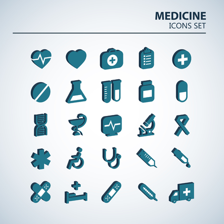 Medical 3D icon set. 25 volumetric hospital vector signs. Medicine design. Web ambulance infographics icons. Illustrator vector design. Stock Illustratie