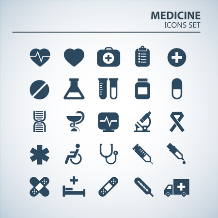 Medical icon set. 25 Silhouette hospital vector signs. Medicine design. Web ambulance infographics icons. Illustrator vector design. Stock Illustratie
