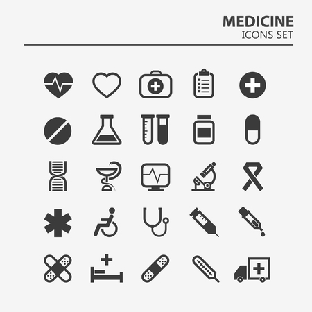 Medical icon set. 25 Silhouette hospital vector signs. Medicine design. Web ambulance infographics icons. Illustrator vector design. Foto de archivo - 125598142