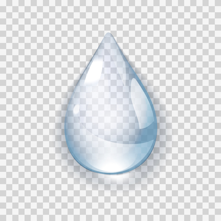 Pure clear Realistic Water Drop isolated on transperent background vector illustration. Raindrop on the window glass with reflections Foto de archivo - 125598149