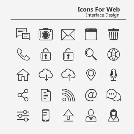 Simple stylish Outline icon set for web and mobile. Contacts and chat icons. Social media infographics. Settings, downloads and home buttons. Outline icons