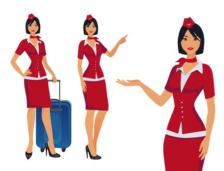 Azafata en uniforme rojo. Auxiliares de vuelo, azafatas señalando información o de pie con la bolsa. Personaje de dibujos animados de azafata de profesión bonita para infografías. Ilustración vectorial.