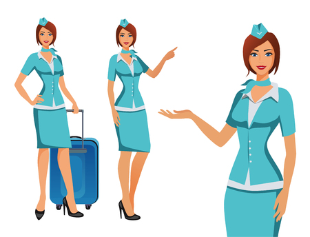 Stewardess in blue uniform. Flying attendants, air hostess pointing on information or standing with bag. Pretty profession stewardess cartoon character for infographics. Vector illustration.