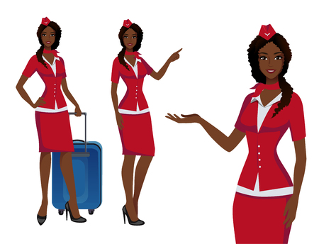 Stewardess in red uniform. Flying attendants, air hostess pointing on information or standing with bag. Pretty profession stewardess cartoon character for infographics. Vector illustration.