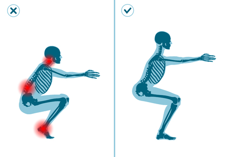 Wrong and correct air squat exercise. Right and wrong execution technique of sport gymnastics. Common mistakes in sport workout.