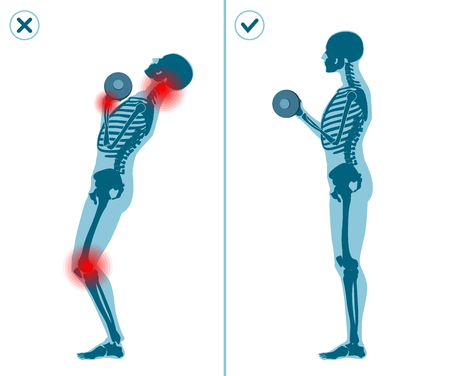 Wrong and correct standing barbell press start position. Right and wrong execution technique of sport gymnastics. Common mistakes in sport workout.