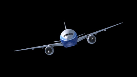 Passenger airplane flying isolated on black background. Modern airliner journey. Realistic 3D render. 4K. Vacation trip above the clouds. Stockfoto
