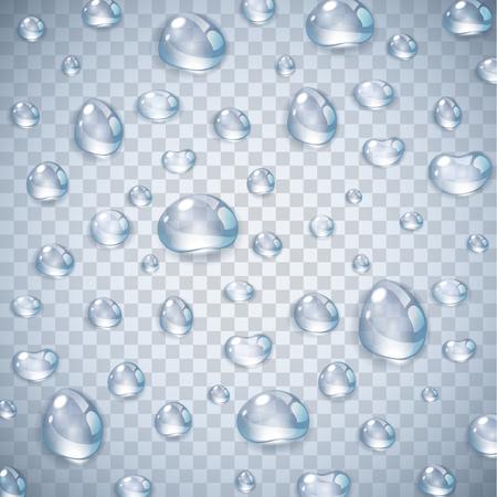 Czysta, przejrzysta, realistyczna kropla wody na białym tle na ilustracji wektorowych przezroczyste tło. Kropla deszczu na szybie okiennej z refleksami