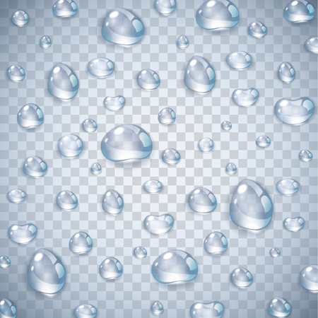 Goccia d'acqua realistica chiara pura isolata su sfondo trasparente illustrazione vettoriale. Goccia di pioggia sul vetro della finestra con riflessi