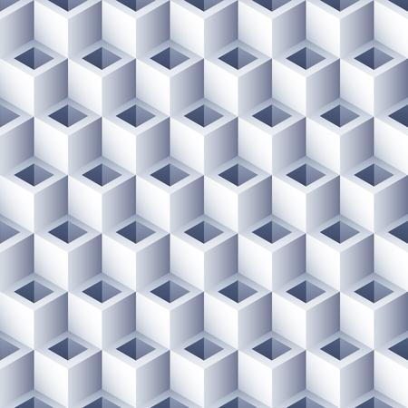 Geometrischer abstrakter Hintergrund mit Löchern. 3D-Würfel-Muster. Volumen Sechseck nahtlose Textur. Muster der optischen Täuschung. Vektorgrafik
