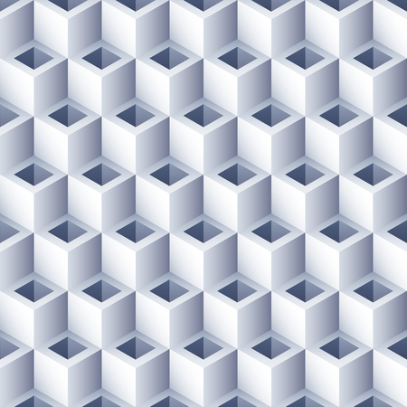 Geometryczne streszczenie tło z otworami. Wzór kostki 3D. Objętość sześciokąta bezszwowa tekstura. Wzór złudzenia optycznego. Ilustracje wektorowe