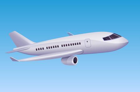 Aeroplano moderno che vola in cielo. Illustrazione vettoriale di aereo moderno del fumetto per agenzia di viaggi o cartellonistica aeronautica.