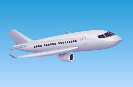 Modernes Flugzeug, das in den Himmel fliegt. Vektorillustration des modernen Flugzeuges der Karikatur für Reisebüro- oder Luftfahrtplakatdesign.