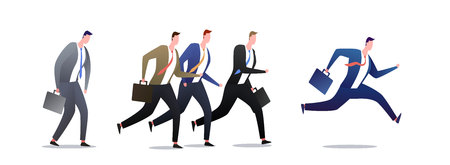 Jogging people. Running group of business men in motion.. People businessmen career race, jogging and run illustration - Vector