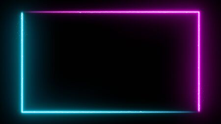 Neon glowing frame background. Colorful design laser show modern border. Futuristic light effect isolated on black. VJ backdrop for club, show, music video, presentation. 3D render