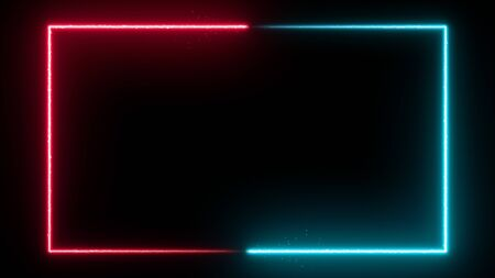 Neon glowing frame background. Colorful design laser show modern border. Futuristic light effect isolated on black. VJ backdrop for club, show, music video, presentation. 3D render Foto de archivo - 125598348