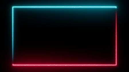 Neon glowing frame background. Colorful design laser show modern border. Futuristic light effect isolated on black. VJ backdrop for club, show, music video, presentation. 3D render Foto de archivo - 125598371