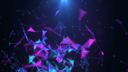 Poligonal neon background. Abstract triangular forms. Geometric motion design shapes. VJ backdrop for presentation or intro. 3D render