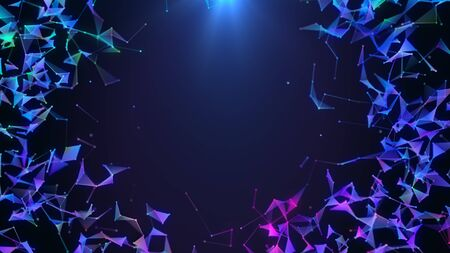 Poligonal neon background border. Abstract triangular technology network connections. Plexus geometric motion design frame. VJ backdrop for presentation or intro. 3D render