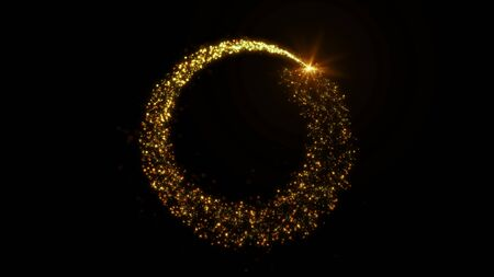 Golden glitter circle frame with sparkling light. Shining Christmas gold particles and sparkles ring on black background. Luxury magic festive effect with bokeh and glow. 3D Dust trail in Ultra HD Imagens