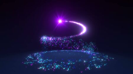 Sparkling neon glitter spiral effect. Shining Christmas magic particles and sparkles circles on black background. Luxury magic festive effect with bokeh and glow. 3D Dust trail in Ultra HD 4K
