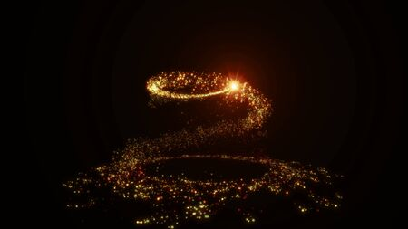Sparkling golden glitter spiral effect. Shining Christmas magic particles and sparkles circles on black background. Luxury magic festive effect with fire bokeh and glow. 3D Dust trail in Ultra HD 4K Foto de archivo - 137960996