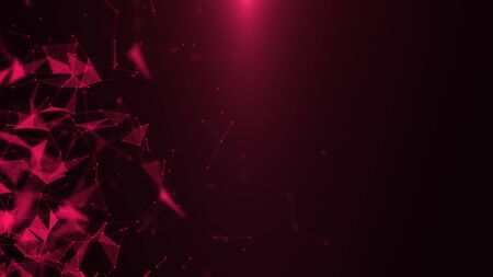 Poligonal neon background. Microscopic bloody network. Abstract triangular forms. Geometric network motion design shapes. VJ backdrop for presentation or intro. 3D render
