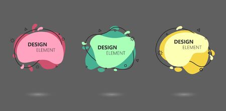 Abstract modern graphic elements set. Liquid pastel colored shapes and lines in dynamic form stickers. Profecional designed stylish templates for banners, flyers or presentations. Graphic design trend Foto de archivo