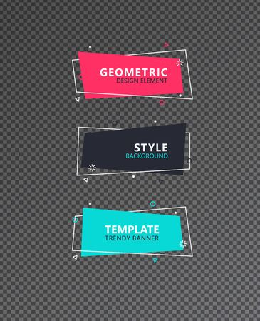 Abstract modern graphic elements set. Geometric colored shapes and lines in dynamic form. Profecional designed stylish templates for banners, flyers or presentations. Graphic design trend. Foto de archivo