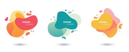 Abstract modern graphic elements set. Liquid colored shapes and lines in dynamic form. Profecional designed stylish templates for banners, flyers or presentations. Graphic design trend. Foto de archivo - 146077355