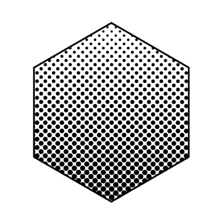 halftone abstract design element. Halftone dots in a hexagon border. Imagens
