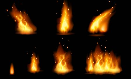 Realistic fire flame and sparks set with different shapes isolated on black background. Burning design element. Vector illustration Foto de archivo