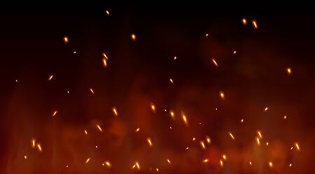 Burning red hot sparks fly from large fire in the night sky. Lag Baomer symbol