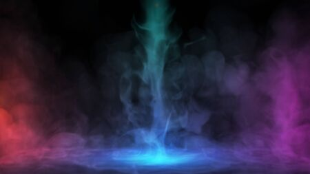 Liquid smoke falling down on surface in colored lights. Dry ice drop spreading on floor Foto de archivo - 146409535