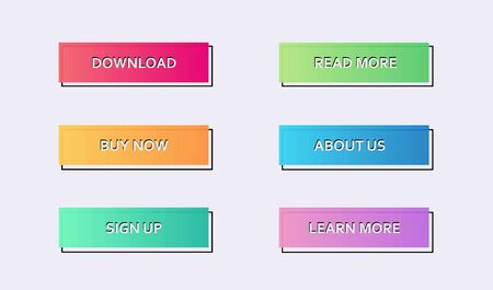 Set of rectangular light colorful web buttons with an outline for internet store design. Vector solid website design elements with a black strock overlaying main bunner Foto de archivo - 146354822