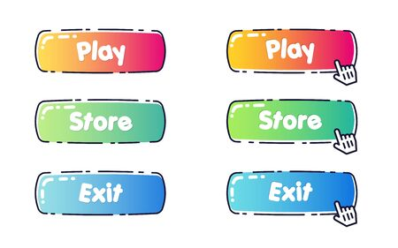 Set of rounded cartoon colorful buttons for games and kids internet store design. Vector candy-like website design elements with a black strock outside.