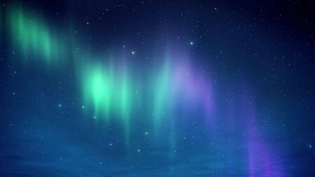 Northern Lights on the Arctic sky with stars. Aurora borealis in the nive clear weather 3D render