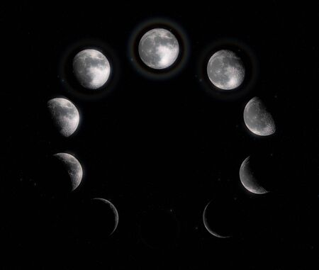 Moon Phases. Ten steps from full moon to new moon. High resolution and super detailed lunar phases.