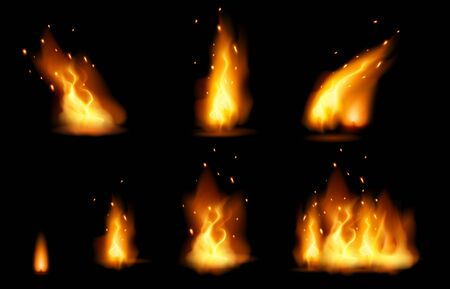 Realistic fire flame and sparks set with different shapes isolated on black background.