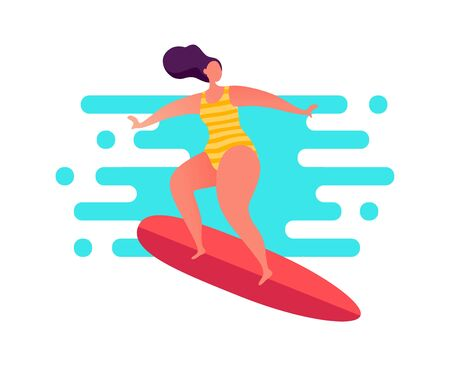 Woman surfing on the swell in striped swimwear.