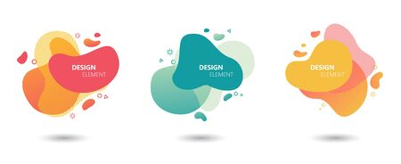 Abstract modern graphic elements set. Colorful graphic design trend.