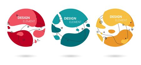 Abstract modern graphic elements set. Graphic design colorful trend with rounded edges.
